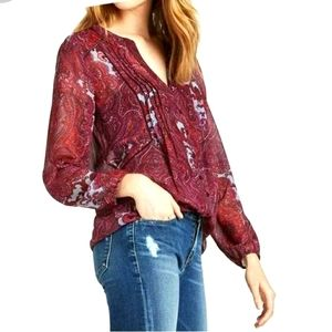 Lucky Brand sheer maroon paisley button down top